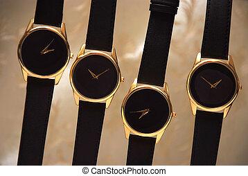 黒い背景, クラシック, セット, 腕時計, 金