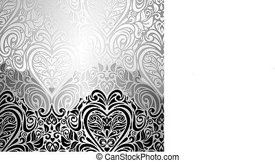 黒い背景, クラシック, &, 白