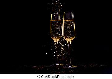 黒い背景, シャンペン ガラス