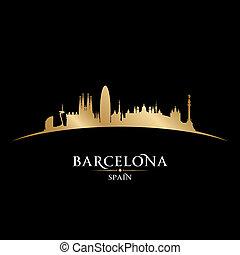 黒い背景, バルセロナ, スカイライン, スペイン, 都市, シルエット
