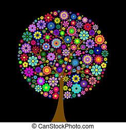 黒い背景, 木, カラフルである, 花