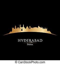 黒い背景, hyderabad, インド, スカイライン, 都市, シルエット