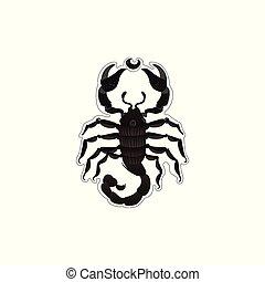 黒い蠍, 危ない, 手ざわり, 動物, 漫画, tail., 昆虫, 図画, 野生生物, かぎつめ, -