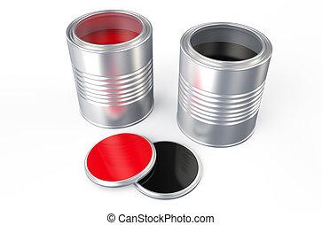 黒い赤, 缶, ペンキ