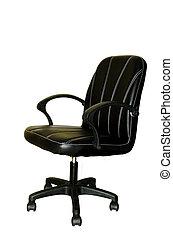 黒い革, オフィス椅子, 隔離された