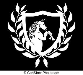 黒い馬, ベクトル, 芸術, 白