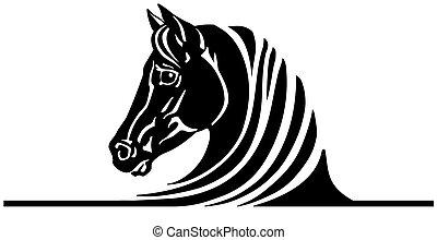 黒い馬, ロゴ, 頭
