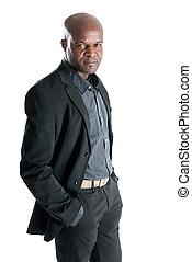 黒い 男性, ∥で∥, 優雅である, 衣装, 隔離された, 白, バックグラウンド。