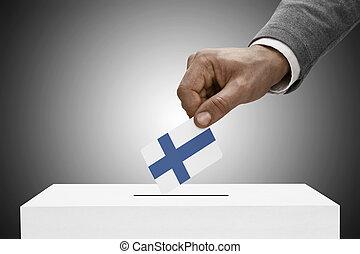 黒い 男性, 保有物, flag., 投票, 概念, -, フィンランド