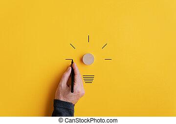 黒い 男性, 図画, 電球, ライト, 手, マーカー