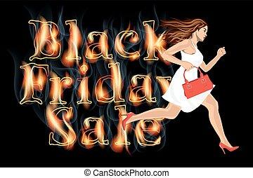 黒人女性, 操業, セール, 金曜日