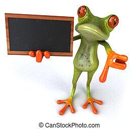 黒板, カエル, トロピカル, 緑, 楽しみ, 3d