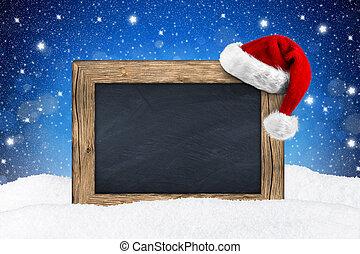 黒板, クリスマス, 雪