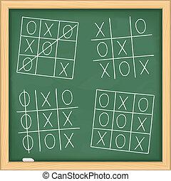 黒板, ゲーム, tic, つま先, tac