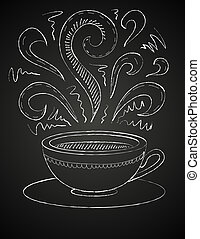 黒板, コーヒー, 図画, カップ