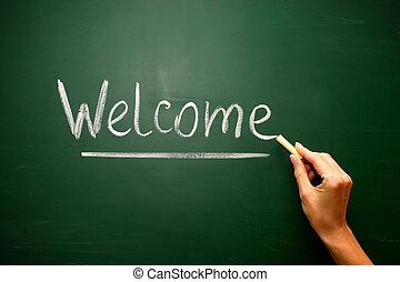 黒板, チョーク, 歓迎, 手書き, 原稿