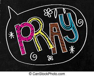 黒板, テキスト, 祈る