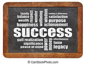 黒板, 単語, 成功, 雲