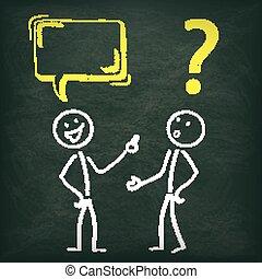 黒板, 問題, 2,  stickman, コミュニケーション