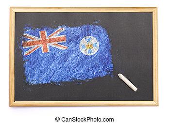 黒板, 国旗, queensland, 引かれる, on.(series)