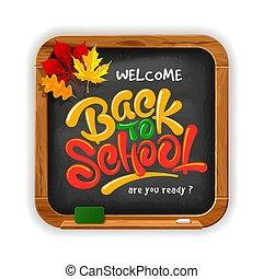 黒板, 学校, レタリング, 黒, 背中