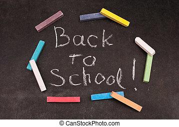 黒板, 学校, 背中, 書かれた