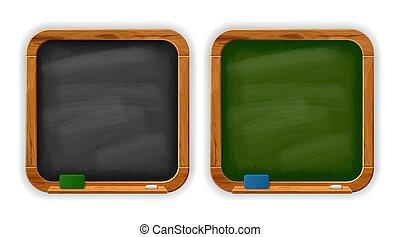 黒板, 学校, 黒, チョーク, 広場, スポンジ, 緑