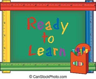 黒板, 定規, 準備ができた, 学びなさい