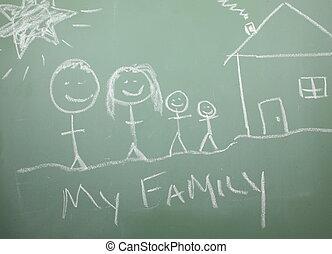 黒板, 幸せな家族, 引かれる