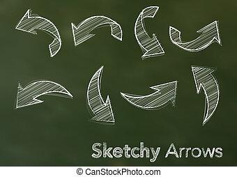 黒板, 抽象的, 矢, イラスト, sketchy, ベクトル, 緑の白