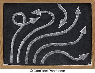 黒板, 抽象的, 線, 矢