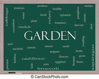 黒板, 概念, 単語, 庭, 雲