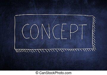 黒板, 概念, 単語, 手書き