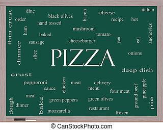 黒板, 概念, 単語, 雲, ピザ