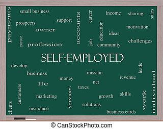 黒板, 概念, 単語, 雲, self-employed