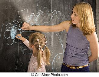 黒板, 生徒, 教師, 肖像画