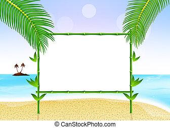 黒板, 竹, 浜
