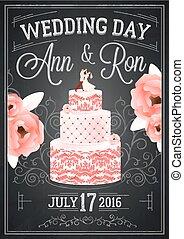 黒板, 結婚式, ポスター