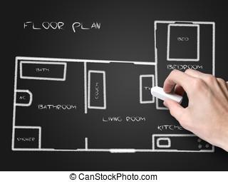 黒板, 計画, 床