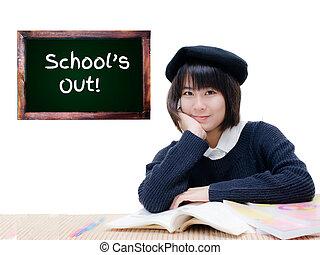 黒板, whi, 隔離された, アジア人, 学校は出ている, ティーネージャー