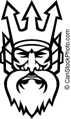 黒, ∥あるいは∥, 頭, poseidon, 神, 怒る, 海, 白, マスコット, ギリシャ語, 海王星