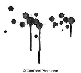 黒, しみ, スポット, 構成, インク