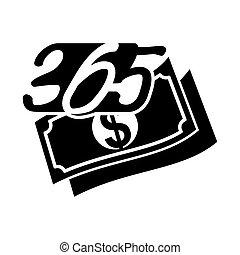 黒, アイコン, お金財政, ロゴ, デザイン, 無限点, イラスト, 365