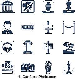 黒, アイコン, セット, 博物館, 平ら