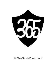 黒, アイコン, ロゴ, デザイン, 無限点, イラスト, 保護, 365, 保護