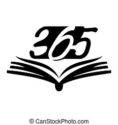 黒, アイコン, ロゴ, デザイン, 無限点, イラスト, 開いた, 365, 本