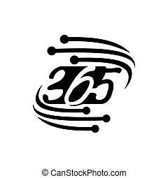 黒, アイコン, ロゴ, モニター, 無限点, デザイン, イラスト, 365