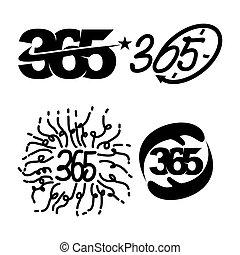 黒, アイコン, 時間, 記念日, 星, ロゴ, 無限点, 手, 365