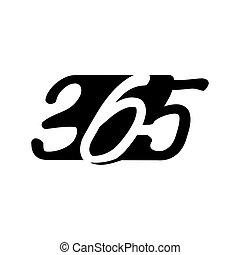 黒, アイコン, 現代, ロゴ, デザイン, 無限点, イラスト, 365