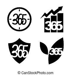 黒, アイコン, 葉, 時間, ロゴ, 無限点, ビジネス, 365, 保護